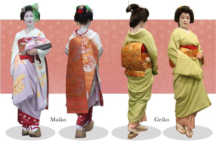Observem os quimonos da maiko e gueixa